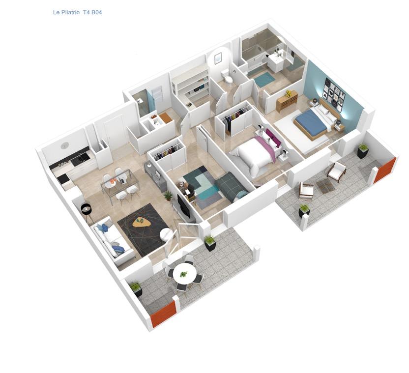 Plan 3D de l'appartement T4 Le Pilatrio à Lahonce