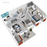 Plan 3D de l'appartement T3 Le Pilatrio à Lahonce